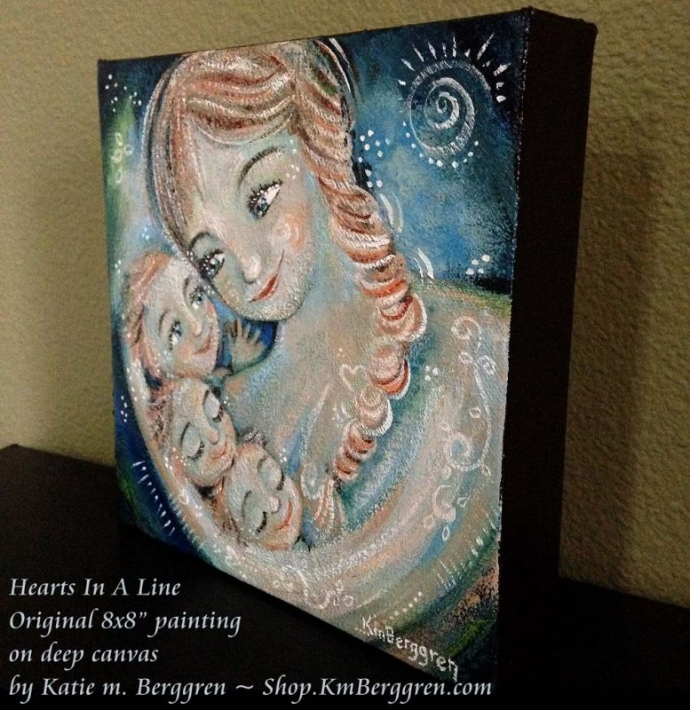 "Hearts In A Line new original 8x8"" painting on canvas by Katie m. Berggren"