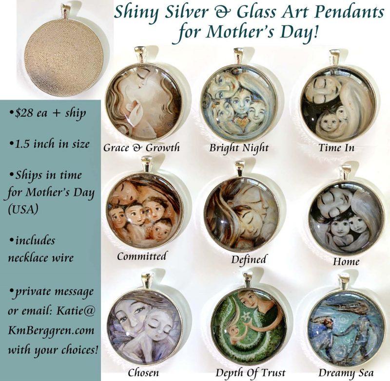 Shiny Silver & Glass Motherhood Pendants