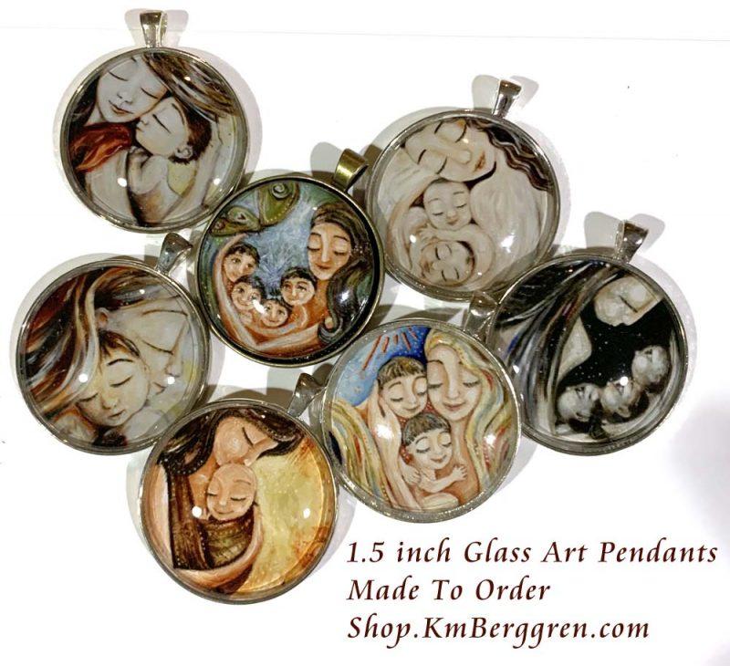 glass art silver pendants, bronze silver glass art pendants, wearable artwork, gifts for mom