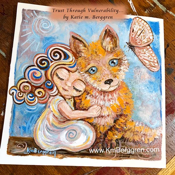 girl and fox, painted fox, baby fox, little girl and butterfly, painted moth, blue eye fox painting, child and animal painting