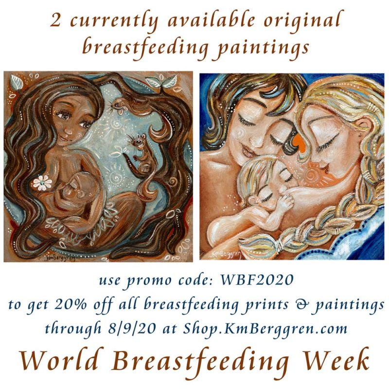 world breastfeeding week coupon for motherhood artwork - 2 available original paintings