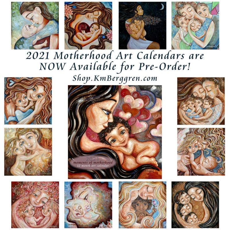 motherhood 2021 art calendar, planner for mom, moments of motherhood from Katie m. Berggren