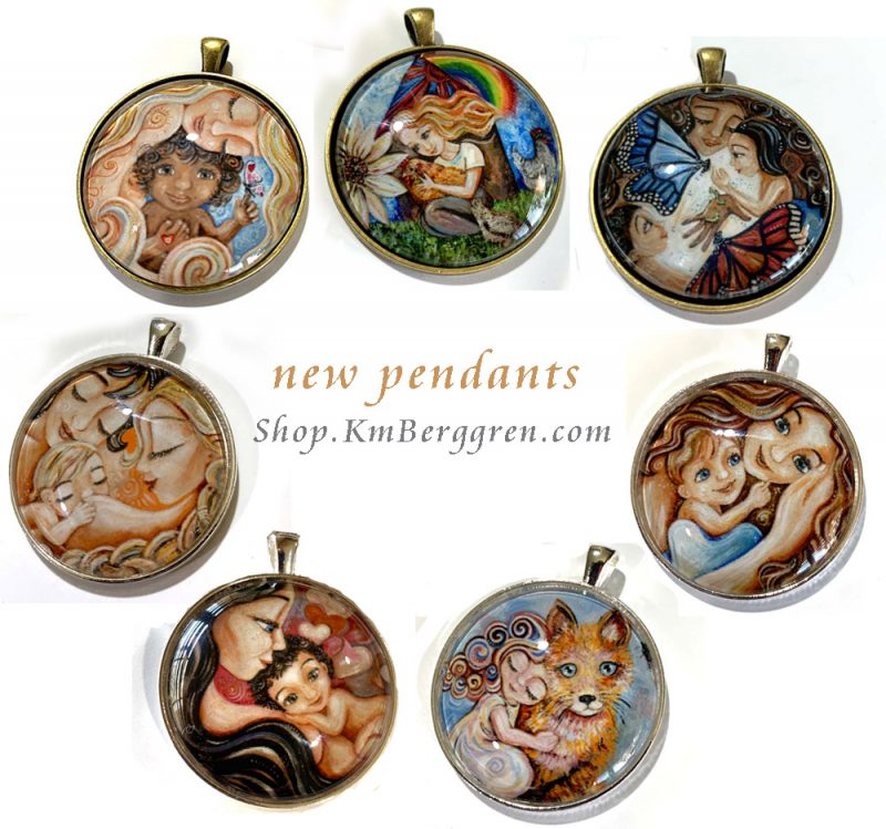 glass art motherhood and nature pendants from the Wild Tenderness Collection by Katie m. Berggren