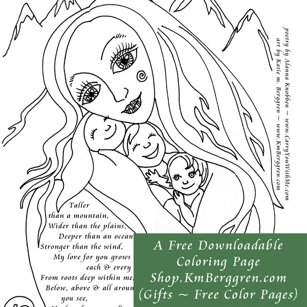 free downloadable coloring pages from motherhood artist, Katie m. Berggren